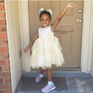 Holiday Edition Yellow White Toddler Girl Dress